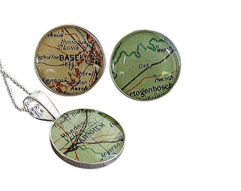 Map Cufflinks and Necklace  Wedding Set Solid Sterling Silver Made to Order by sherry truitt for the Bride and Groom free shipping