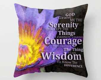 Throw Pillow Serenity Prayer Art COVER Design Home Sofa Bed Chair Or Couch Decor Artsy Decorating Made Easy Living Room Bedroom Bedding