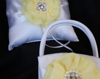 Cream or White Ring Bearer Pillow and Matching Flower Girl Basket- Pale Yellow Flower with Rhinestones and Pearls