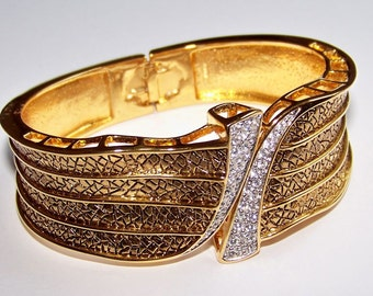 SJK VINTAGE --  Butler FAC Signed Textured Gold and Rhinestone Clamper Bracelet (1980's)