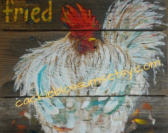 "16"" X 16"" #616 Rustic Wood Wall Decor Chicken Original Art"