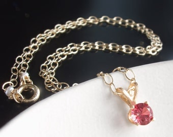 14k Solid Gold Petite Pink Spinel Necklace - Custom Made to Order