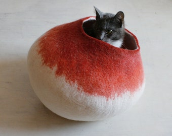 Pets Cave / Cat Cave / Cat Bed / Vessel - Hand Felted Wool - Crisp Contemporary Design - Eco Friendly -