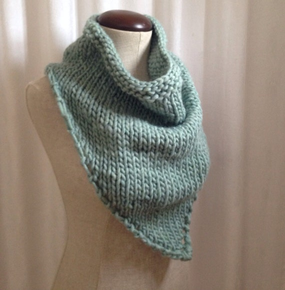 Free Knitting Patterns For Beginners Baby Blanket : Items similar to Light blue knit bandana scarf cowl on Etsy