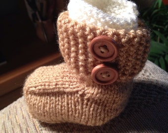 Knit Baby Booties, Baby Ugg Style Boots, Infant Gifts, Hand Knit Baby Booties, New Baby Gift, Gender Neutral Baby Booties, Ready to Ship.