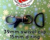 5 Sets 1.5 Inch Swivel Clips with Matching D Ring (available in Antique Brass and Nickel Finish)
