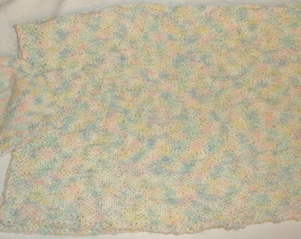 Knitted Baby Blanket with Matching Hat  #5077