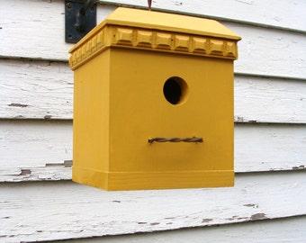 Rustic Modern Birdhouse Decorative Bird House Garden Decor Cottage Farmhouse Birdhouses Mustard Yellow