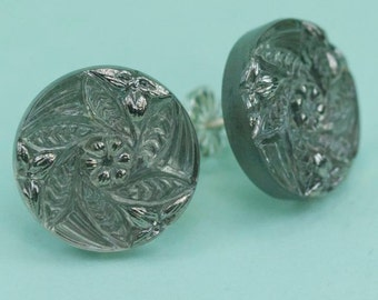 Charcole Grey Tone with Silver Czech Glass Post Earrings 13mm