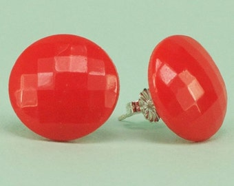 Vintage Red Glass 1940's Faceted Post Earrings