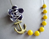 Statement Necklace,Navy Blue Flower Necklace,Floral Necklace,Navy Blue Necklace,Yellow Necklace,Anchor Necklace,Nautical Necklace,Gift Her