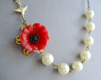 Red Poppy Flower Necklace,Ivory Pearl Jewelry,Vintage Style Jewelry,Romantic Necklace,Bridesmaid Jewelry Set,Gift(Free Matching Earrings)