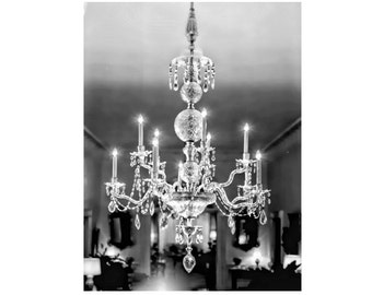 Instant Download Shabby Chic Crystal Chandelier Black and White Print Digital Download Commercial Use Digital Graphics Printable Art