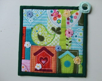 Fabric Potholder - Bird houses - Spring