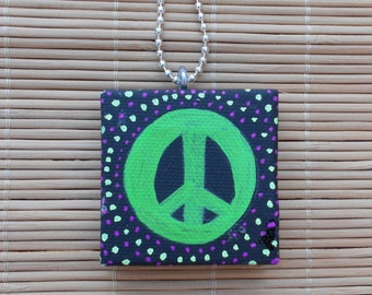 Peace sign Small Painted Canvas Necklace