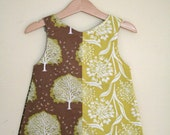 Green trees and bird Panel Dress - 2/3yrs
