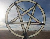 Stained Glass Pentagram, Yule Holiday Tree Topper, Wicca Holiday Decor, Custom Religious Stained Glass 7.5 Inches