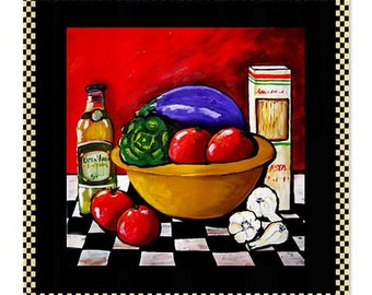 Italian Food Kitchen Tomatoes Garlic Folk Art Whimsical Colorful Bathroom Shower Curtain