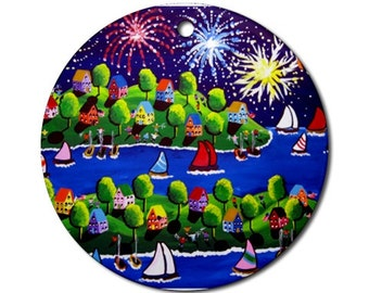4th of July Fireworks  Folk Art Fun Whimsical Colorful Round Porcelain Ornament