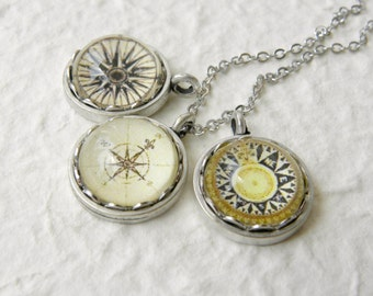 Antique Compass Petite Necklace - (the ORIGINAL in this design) Great Graduation Gift For Grad Pick your favorite out of 5 compass designs