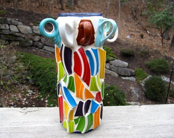 Pique Assiette Bright Colorful Pottery Mosaic Vase With Cup Handles