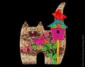 Standing Tan Tabby Kitty Cat, Birdhouse, 2 Birds & Flowers Pin