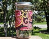 FREE SHIPPING UPGRADE with minimum -  Mason jar cozy / mason jar sleeve / mason jar wrap - Botanica Paisley by Henry Glass