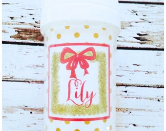 Personalized Christmas Wreath Spill Proof Sippy Cup - Christmas