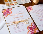 Gold, Pink, and Orange - Talavera Tile Inspired Invitation, Beach Wedding, Mexican style Inspired Wedding