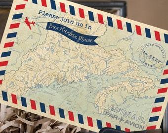Vintage Air Mail Postcard Save the Date (Bar Harbor, ME) - Design Fee