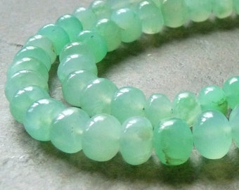 Light Gemmy Seafoam Green Chrysoprase Smooth Rondelles - 6x8.5mm - 2 Bead Pair