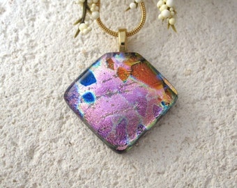 Petite Pink Red Necklace, Pink Copper Red & Black Pendant, Fused Glass Jewelry, Dichroic Pendant, Dichroic Jewelry, ccvalenzo, 070517p105