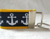 Anchors Mini Key Chain Nautical Key Fob Navy on YELLOW