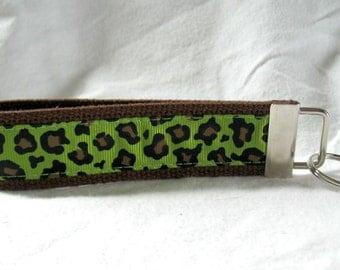 Kiwi Cheetah Key Fob Large Key Chain Animal Print Wristlet Keychain BROWN