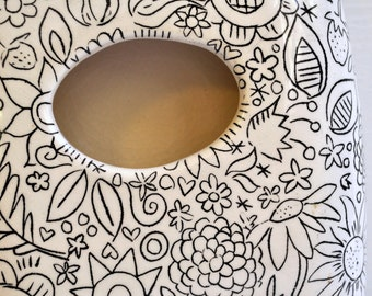 MADE TO ORDER- Ceramic/ Pottery Wall Planter/ Wall Pocket/ Vase -- Black and White Floral Line Drawing