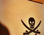 Pirate rubber stamp Jolly roger skull with crossbone swords