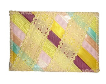 Fabric Postcard, Patchwork, Ribbons and Lace