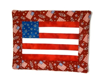 Patchwork, American Flag Candle Mat, Wallhanging, Tablerunner