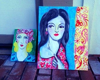 Fashion Model colorful painting of a 1920's woman