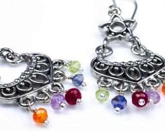 Gemstone Chandelier Sterling Silver Earrings