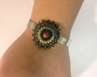 Beaded Rhodonite Adjustable Bracelet, Beadwoven Cuff, Black Green, Silver Plated Floral Cuff - Adjustable Bracelet by enchantedbeads on Etsy