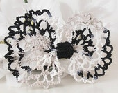 Crochet Lace Bow Hair Clip, Black, White & Taupe Lace, Children's, Teen, Women's Hair Clip Accessory