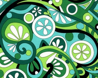 Michael Miller Mod Swirls Kelly Fabric - REMNANT Size 25 Inches by 44 Inches