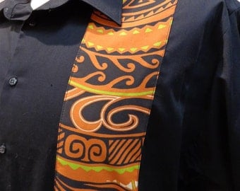Mens Black Shirt With Polynesian Tribal Fabric Detail CUSTOM SIZES AVAILABLE