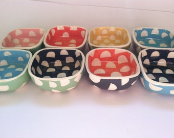 ceramic mini square dish candy Dots pattern
