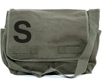 Messenger Bag, Monogrammed Bag, Personalized Bag, Initial Bag, Crossbody Canvas Bag, Personalized Groomsmen Gift, Helvetica, Typography, Men