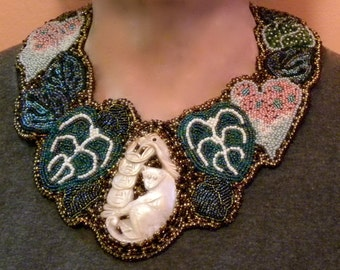 OOAK Bead Embroidered Necklace with Carved MOP Monkey