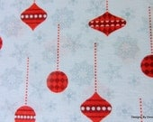 "One Yard Cut Quilt Fabric, Two Tone Red Christmas Ornaments & Gray Snowflakes, ""Holiday Frost"" by Jan Shade Beach for Henry Glass, Supplies"