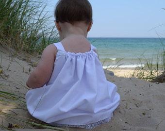 Beautiful White Beach portrait pillowcase dress for girls size 0 to 14