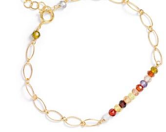 Gemstone Bar Bracelet in 14k GF and Multi-colored Cubic Zirconia